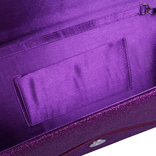 Purple Flap Large Clutch Bag Handbag Metallic Premium Glitter Evening Envelope qfdzzw4I