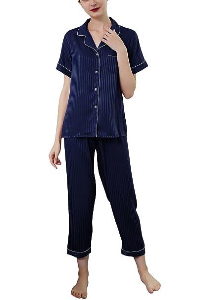 Dolamen Pijamas Camisón para mujer, 2018 Mujer Largo Camisones raso Satin Parejas Pijamas, lencería