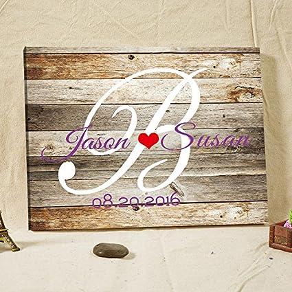 Amazon.com: Wedding Favor Personalized Rustic Wedding Guest Book ...