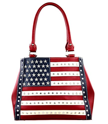6914b0df17c Image Unavailable. Image not available for. Color  Montana West American  Flag Star Studded Concealed Carry Handbag