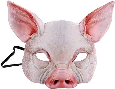 Winkey máscara de Halloween, Unisex Media Cara de Cerdo máscara ...