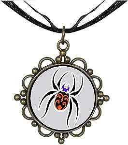 Chicforest Bronze Retro Style cute Halloween spider cartoon Round Flower Pendant