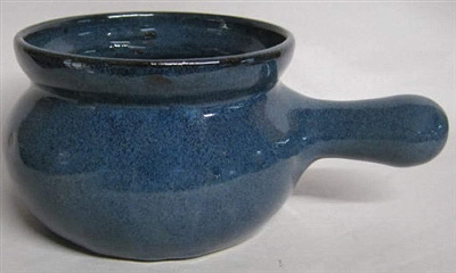 Handmade pottery french onion bowl with long handle by Traditions Pottery blue