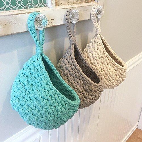 Amazon.com: Crochet Hanging Door Knob Storage Basket: Handmade
