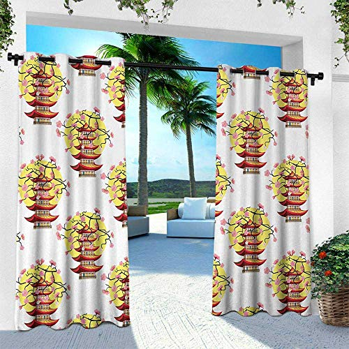 Hengshu Ancient China, Silver Grommet Top Drape,Chinese Pagoda Illustration in Lively Colors with Sakura Cherry and Sunset, W120 x L84 Inch, Multicolor