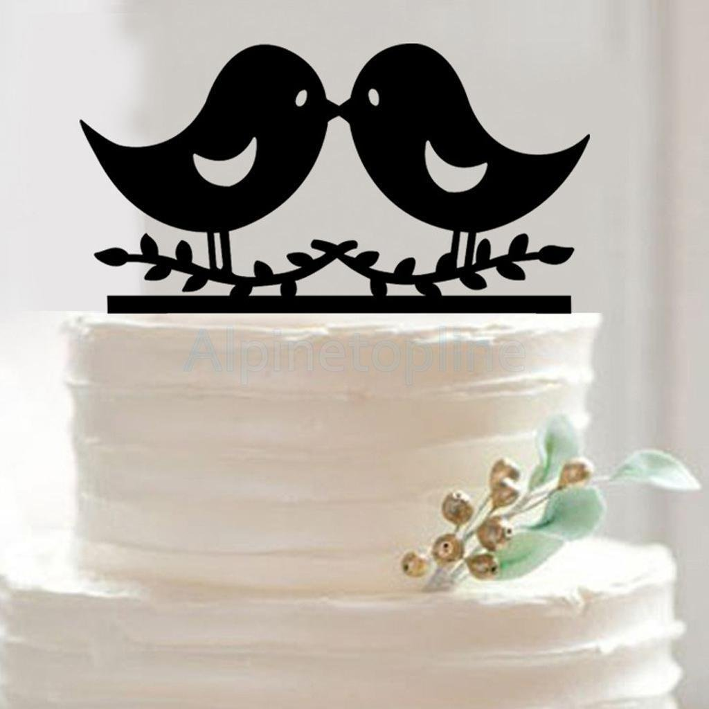 LOVE Birds Kissing Cake Topper Wedding Anniversary Engagement Rustic Shabby