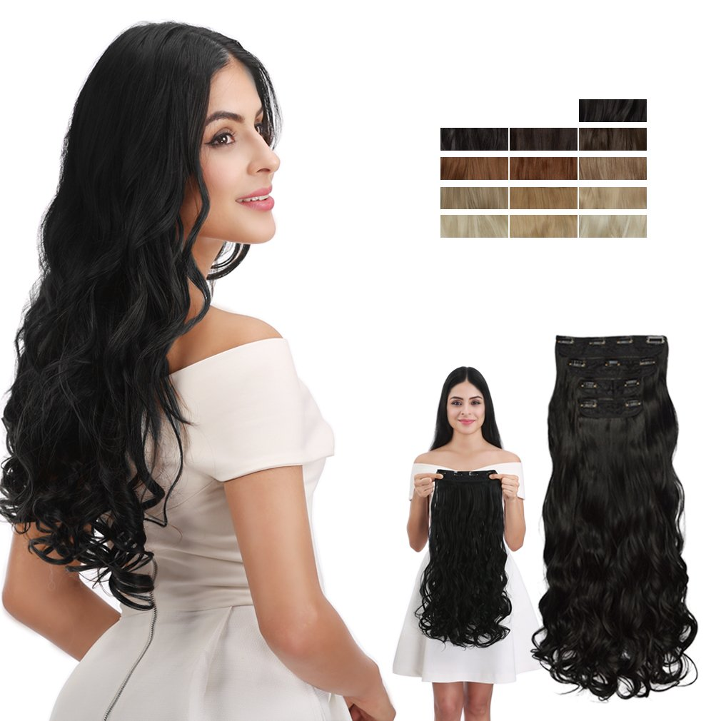 REECHO 24'' Curly Wavy 4 Pieces Set Clip in Hair Extensions Natural Black