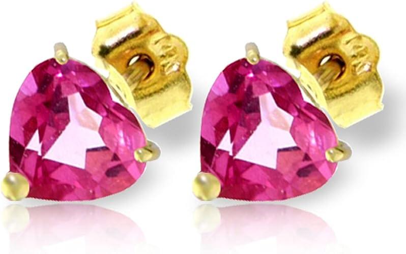 ALARRI 3.25 Carat 14K Solid Gold Stud Earrings Natural Pink Topaz