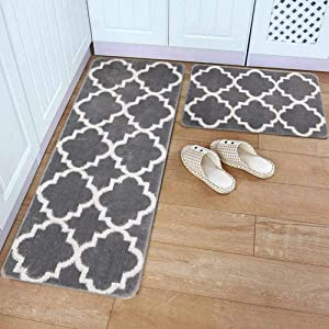"HEBE Kitchen Rug Sets 2 Pieces Non Slip Moroccan Trellis Kitchen Rug and Mat Set Washable Throw Rug Carpet Mat Runner for Entryway Kitchen Bedroom Grey(18""x47""+18""x30"")"