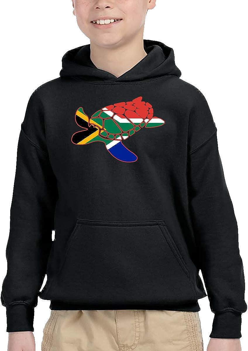 South African Flag Sea Turtle Children Boys Girls Long Sleeve Sweatshirts Hooded Hoodie 2-6T