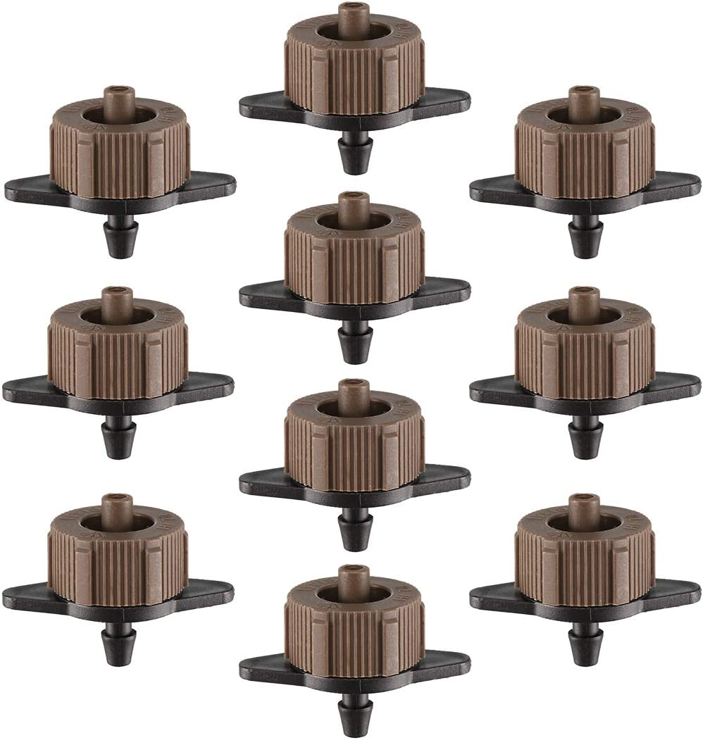 uxcell Pressure Compensating Dripper 2 GPH 8L/H Emitter for Garden Lawn Drip Irrigation with Barbed Hose Connector, Plastic Black Brown 25pcs