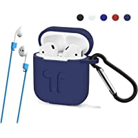 AirPods Protective Case Cover with Carabiner - Air Pods Hang Silicone Case Protector for for Apple Airpods by Akitech (Navy Blue)
