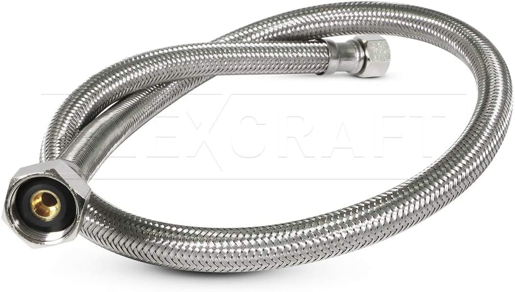 "Flexcraft 27136-NL Braided Faucet Connector 36 Inch Long, 1/2"" IPS Brass Nut X 3/8"" Female Compression Fitting, 36 In, Stainless Steel Lead-Free"