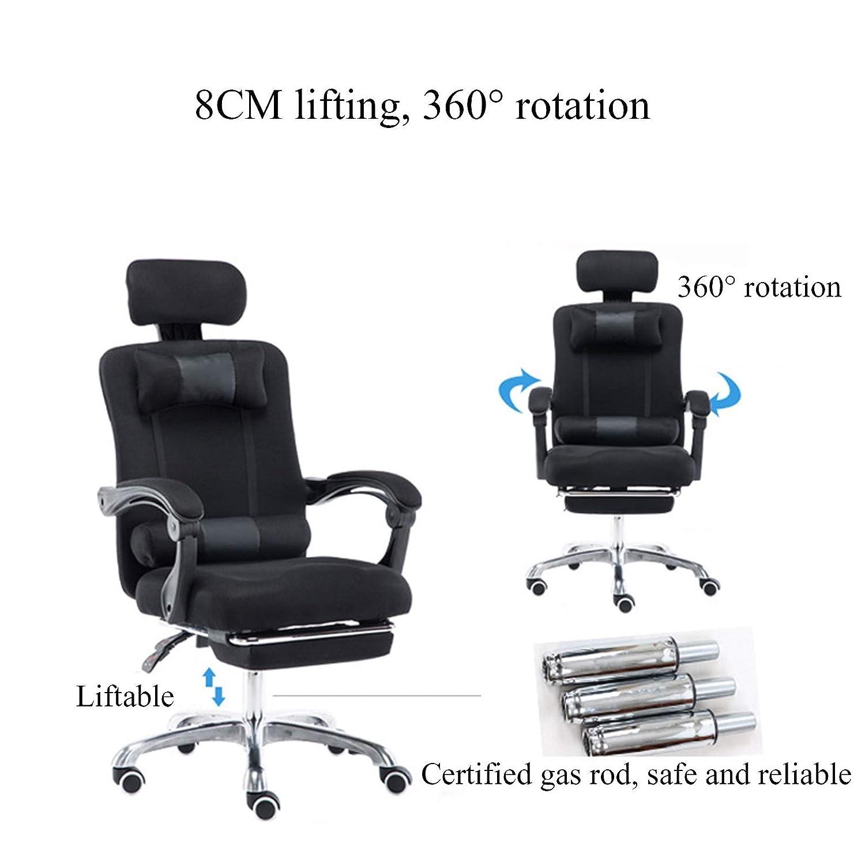 YYL kontorsstol hem kontor datorstol, verkställande ergonomisk justerbar svängbar stol, spel racerstol med fotstöd svängbar stol (färg: grå) Grått