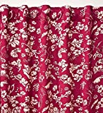 42″W x 72″L Floral Damask Rod-Pocket Homespun Insulated Curtain Panel, in Red Review