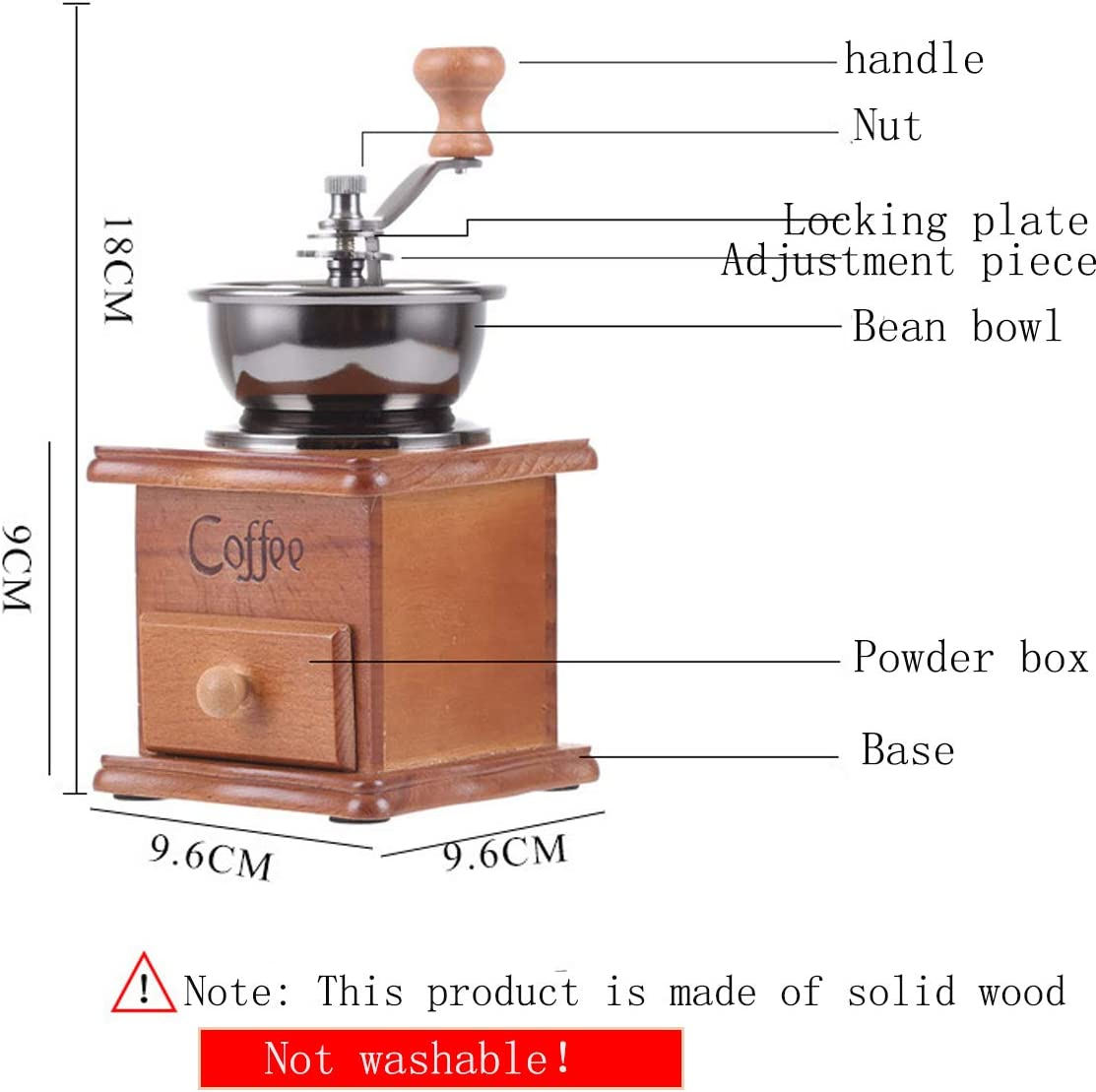 Braunes Holz Reisen Gro/ße Kapazit/ät Camping dancepandas Kaffeem/ühle Manuell Holz Retro Keramik Handkaffeem/ühle Keramikmahlwerkcoffee Bean Grinder Manual Verstellbar Handkurbel tragbar