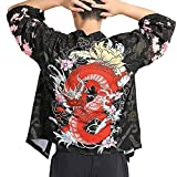 Men Japanese Yukata Coat Kimono Outwear Vintage Casual Top Black Dragon