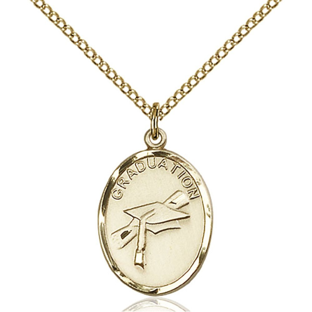 Gold Filled Women's GRADUATION Pendant - Includes 18 Inch Light Curb Chain - Deluxe Gift Box Included