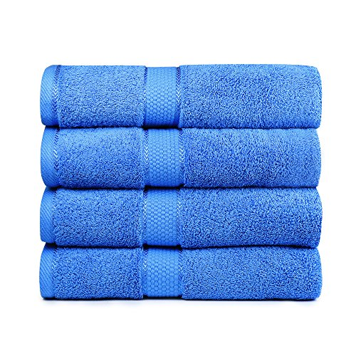 Bigsal 4-Piece Luxury Bath Towels Set - Super Soft & Durable - 700-GSM - 100% Pure Cotton - Machine Washable & Quick Dry - Lightweight Home, Pool, Gym, Towel - 27' x 54' Inch (Blue)