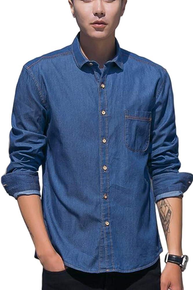 Hombre Denim Botón Camisa Casual Manga Larga Jean Camisas Azul Marino L: Amazon.es: Ropa y accesorios
