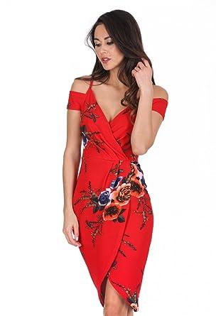 AX Paris Womens Floral Cold Shoulder Wrap Dress(Red, ...