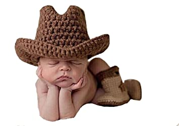 5bfd171f8c183 Memorz Newborn Infant Girl Boy Baby Handmade Crochet Knitted Costume Lovely  Cowboy Clothes Photography Cap Hat