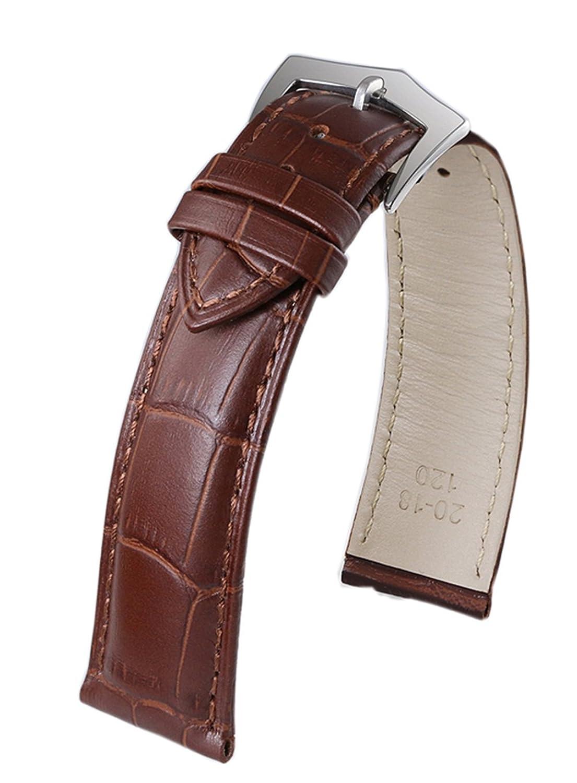ブラウンハイエンド尺度で長方形Sレザー腕時計ブレスレット交換用ピンバックル 22 ブラウン 22   B07BSYZS7N