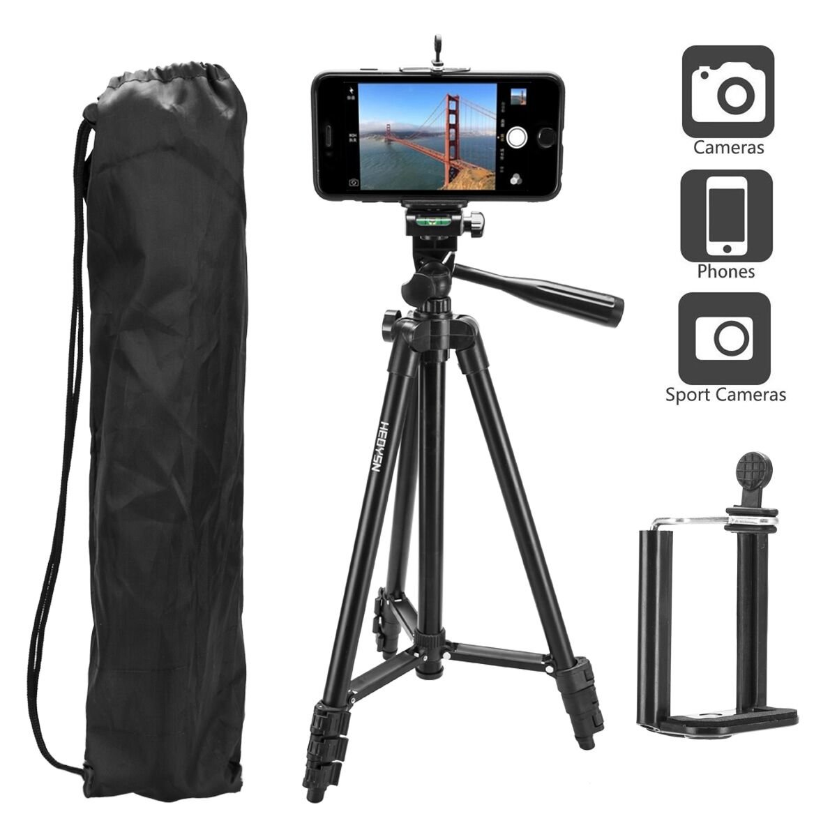 New Heoysn Lightweight Aluminum Tripod 50 Inch Camera With Lomography Instant Lenses San Sebastian Edition Carry Bag And Universal Phone