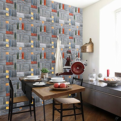 . Jedfild Gray brick walls with adhesive wallpaper wall paper self