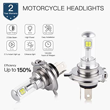 H2RACING 2Pcs moto 1500LM 6500K White Clear H4/HS1 LED Faros bombillas LED faros delanteros