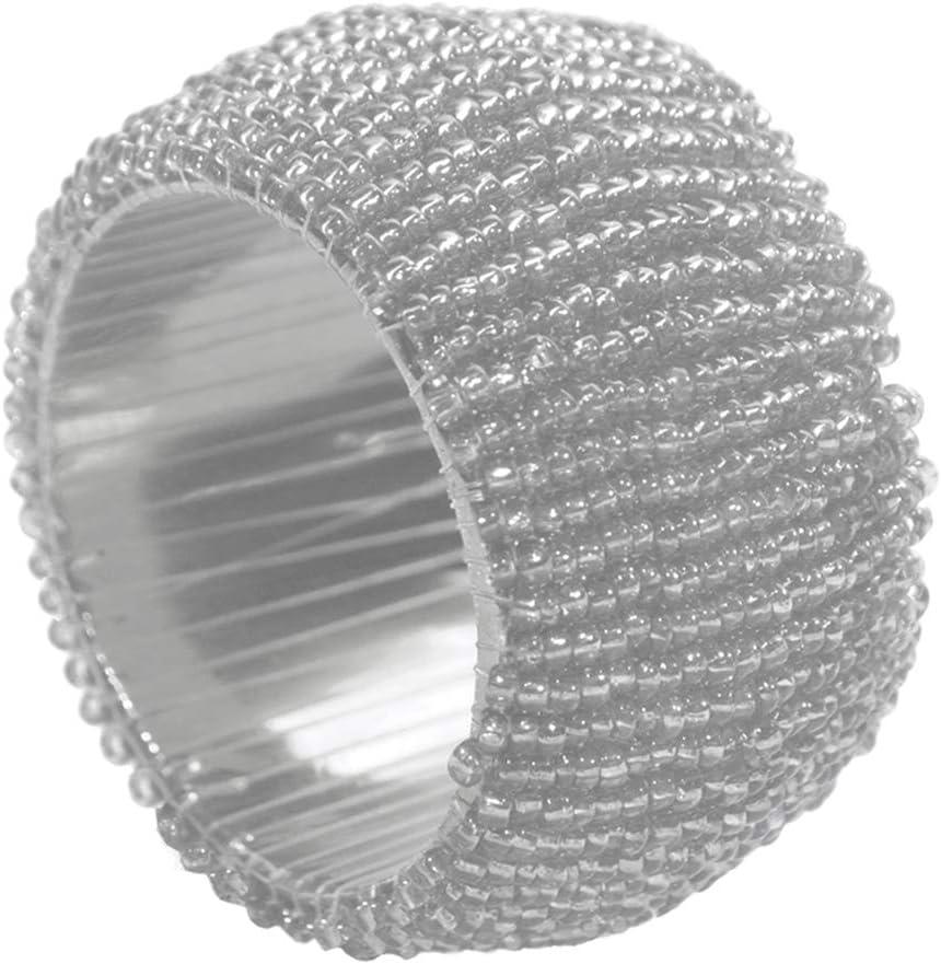 Indus Lifespace Lot de 6 ronds de serviette en perles Argent/é D/écorations de No/ël