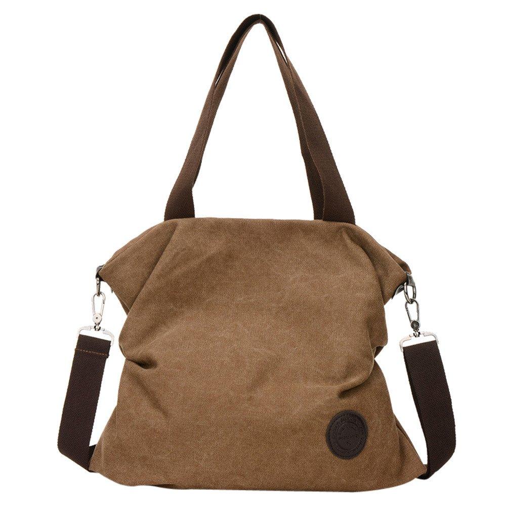 LLNONG Women Canvas Handbag Messenger Beach Shoulder Satchel Bag Solid Color Casual Multi Color Crossbody Tote