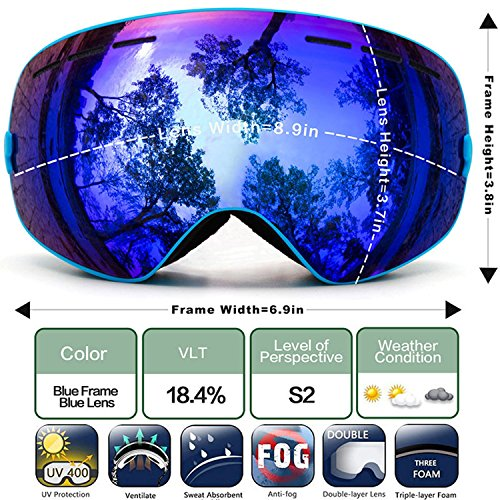 JapanX - Ski Goggles Snow Goggles for Snowboard Snowmobile,Interchangeable Lens Magnetic Detachable Foam,UV400 Protection Anti-fog Design OTG Snow Goggles for Men Women (C2 BLUE) Revo Blue Tie