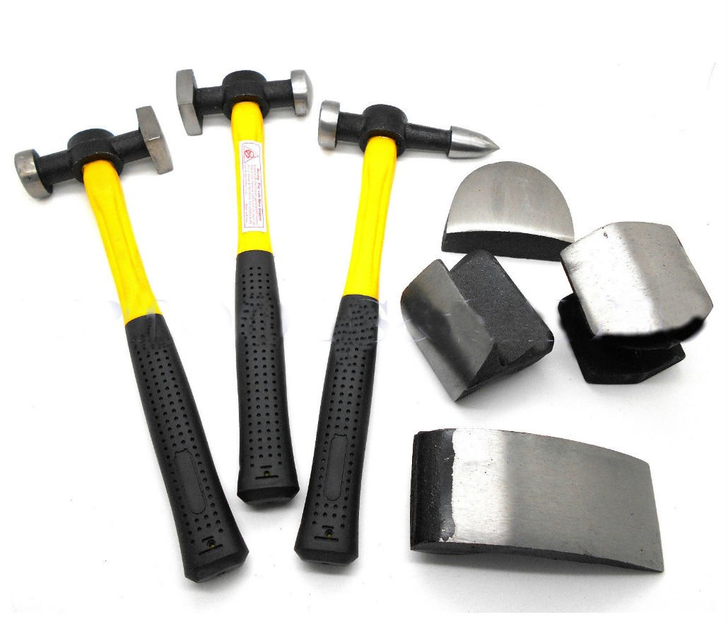 7 Pc Auto Body Fiberglass Fender Repair Tool Hammer Dolly Dent Bender Auto Kit