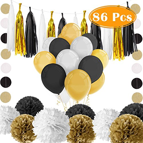 Paxcoo 86 Pcs Black and Gold Party Decorations
