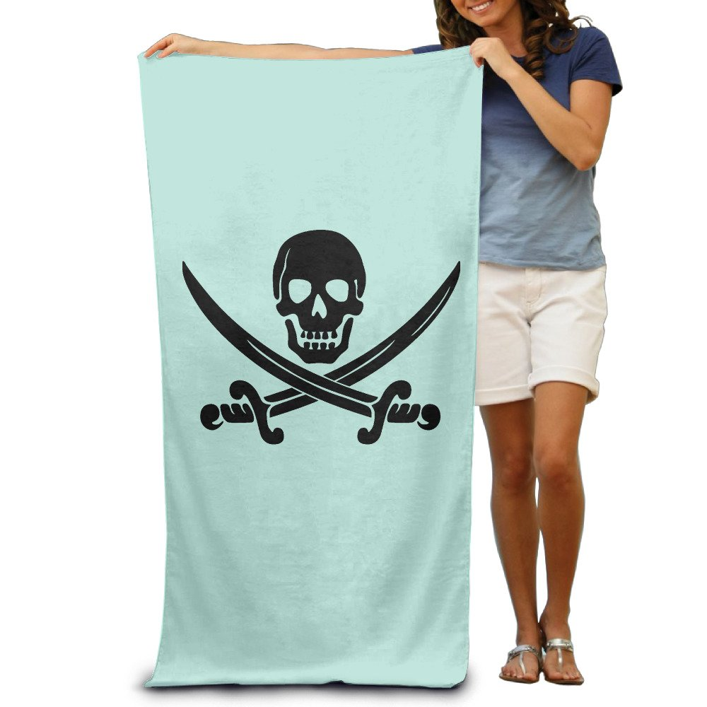 Amazon.com: Black Skeleton Pirate Girls Beach Towels Cool: Home ...