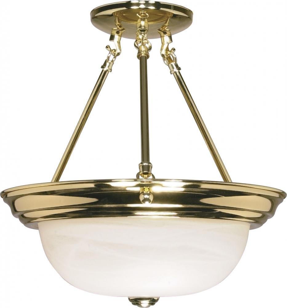 Nuvo Gothamシャンデリア 60/217 1 B002OMBV6Y Polished Brass / Alabaster Glass|13インチ セミフラッシュ Polished Brass / Alabaster Glass