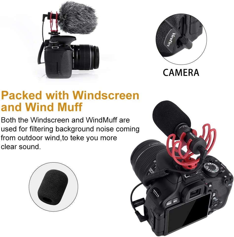 with Wind Muff Viewflex VF-M10 Camera Microphone Cardioid Condenser Directional Shotgun Video Microphone for Canon Nikon Fuji Sony Panasonic Olympus DSLR Cameras Mic for Smartphones etc.