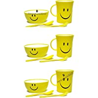 Perpetual Bliss Fancy Smiley Mug with Bowl with Spoon with Fork for Kids|Shakes|Juices|Coffee/Birthday Return Gifts (Pack of 6)