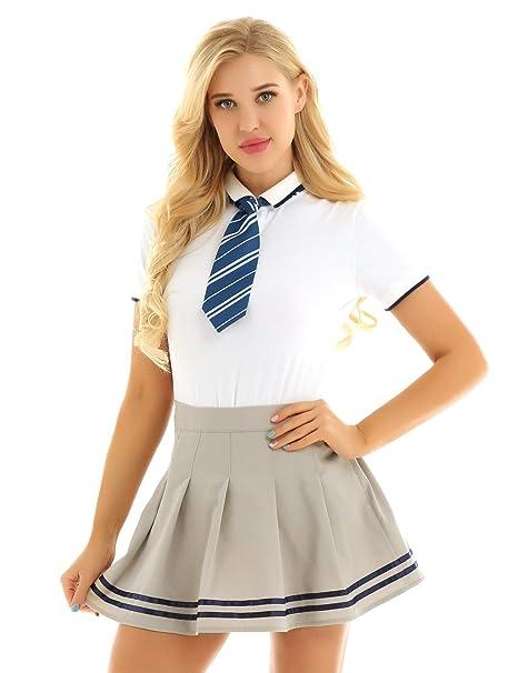 YiZYiF Disfraz Colegiala Uniforme Escolar para Mujer Chica ...