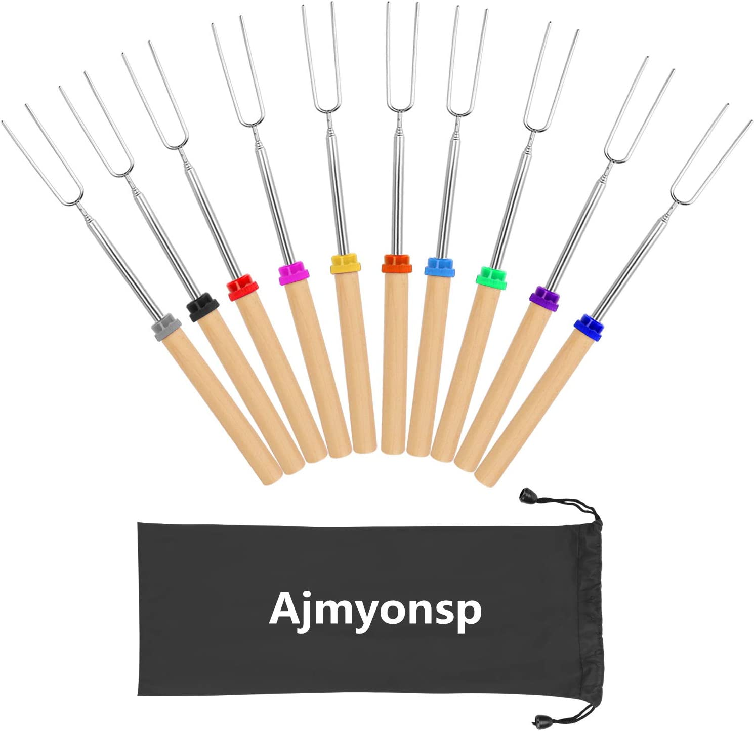 Ajmyonsp Marshmallow Roasting Sticks Smores Skewers Wooden Handle 32Inch Extendable BBQ Forks 10Pcs Telescoping Hotdog S'Mores Kit for Campfire Fire Pit
