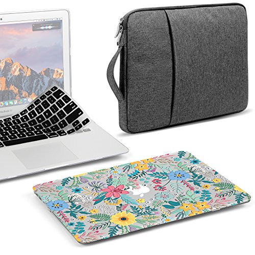 GMYLE 3 in 1 Bundle Glossy Crystal Clear Case Cherry Fresh Floral Flower Hard Plastic Cover for MacBook Air 13 inch (A1369/A1466), Grey Water Repellent Laptop Sleeve with Handle & Black Keyboard Skin
