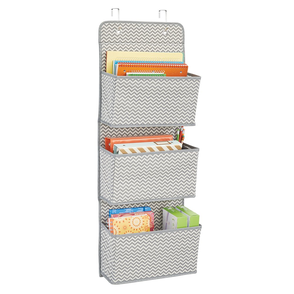 mDesign Soft Fabric Over the Door Hanging Storage Organizer with 3 Large Cascading Pockets, Holder for Office Supplies, Planners, File Folders, Notebooks - Zig Zag Chevron Pattern, Gray/Cream