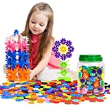 [500 Pcs] Building Blocks, Zooawa Creative Interlocking Construction Tiles Kit for Kids and Toddlers Over 3 Years Old - Colorful