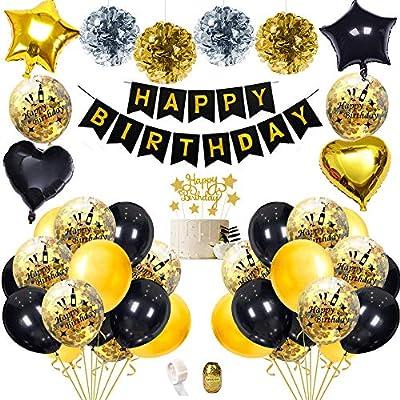 Decoraciones Fiesta Cumpleaños con Adorno Pastel Bricolaje, Pancarta de Feliz Cumpleaños, Borlas Brillantes, Globos de Confeti con Letras, ...