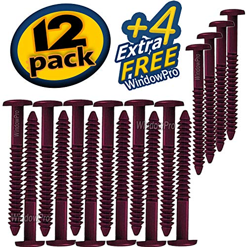 Window Shutters Panel Peg Loks 3 inch 12 pack (Burgundy ) Buy One Pack of 12 Loks and Get 4 Extra Shutter Peg Loks FREE ()