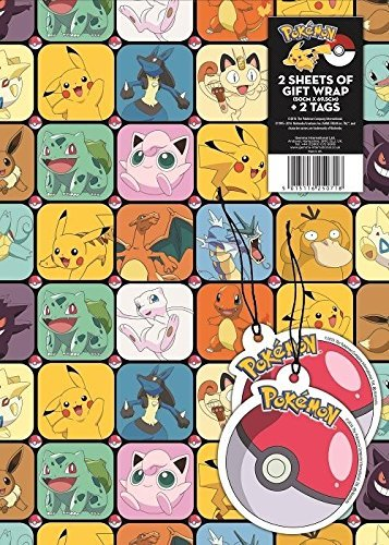 Pokemon 2 sheets Of Gift Wrap And 2 Gift Tags