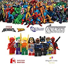 ABG Toys 8 Minifigures Marvel DC Comics Avengers X-Men Super Heroes Catwoman, Cyclope, Flash Gordon, Nick Fury, Wonder Woman, Deadpool, Aquaman, The Joker Minifigure Series
