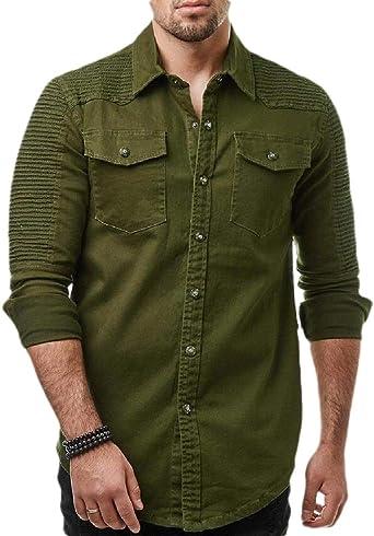 Gocgt Hipster - Camisa de Manga Larga para Hombre Verde Ejercito Verde XS: Amazon.es: Ropa y accesorios