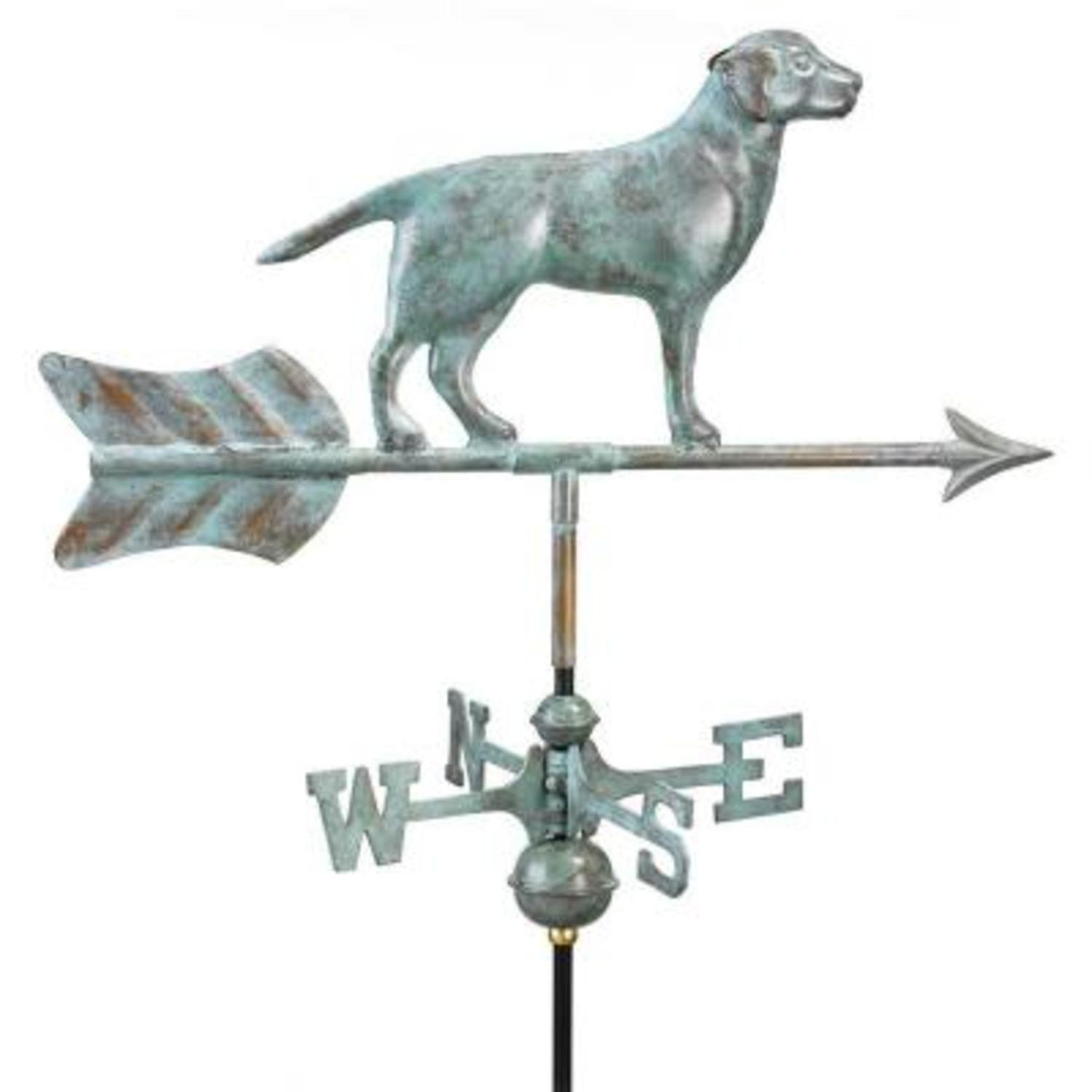 21'' Handcrafted Blue Verde Copper Labrador Retriever Outdoor Weathervane with Roof Mount